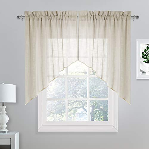 NICETOWN Half Window Valances and Swags - Innovative Linen Blend Sheer Curtains Set Rod Pocket Design Privacy Tiers for Home Decor (36
