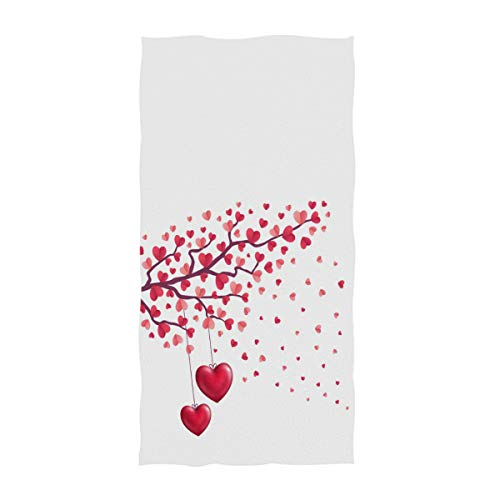 Naanle Stylish Romantic Valentines Day Mother's Day Hearts Leaves Tree Print Soft Large Hand Towels for Bathroom, Hotel, Gym and Spa (16