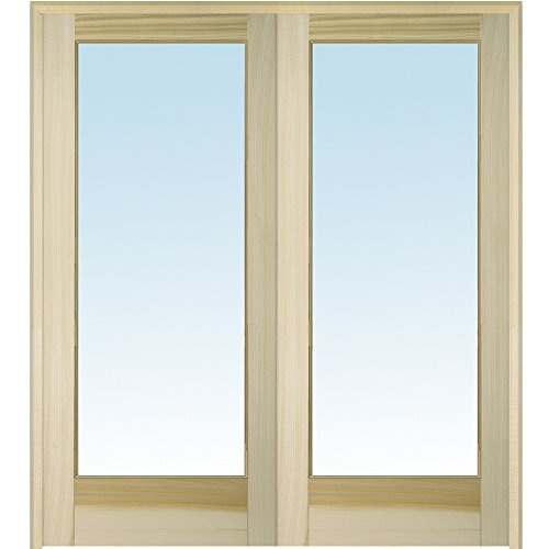 National Door Company Z020056BA Unfinished Poplar Wood 1 Lite Clear Glass, Both Active Prehung Interior Double Door, 72'' x 96'' by National Door Company