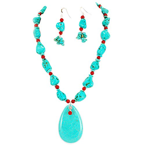 Ny6design 002 Magnesite Turquoise & Red Coral w Toggle long Necklace & Earring Set 19
