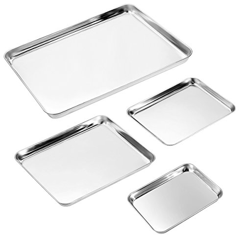 Baking Sheet Set of 4, Zacfton Stainless Steel Cookie Sheet Set 4 Pieces Toaster Oven Tray Pan Rectangle Size Non Toxic & Healthy,Superior Mirror Finish & Easy Clean, Dishwasher Safe (Steel Stainless Set Baking)