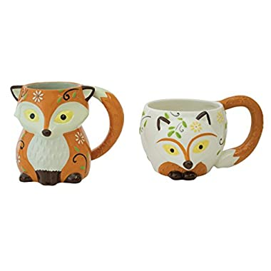 Set of 2 Handpainted Earthenware Colorful Foxes 18 Oz Coffee Mugs