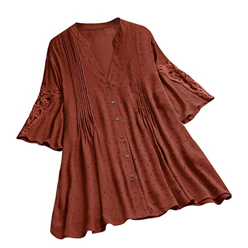 SUNyongsh Boho Floral Embroider Tops Women Plus Size Casual Long Sleeves Loose Shirt Tunic Blouse D-Wine