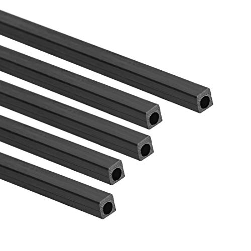 uxcell Carbon Fiber Square Tube 3x3x2mm Inner Round Dia. 200mm Length Pultruded Carbon Fiber Tubing for RC Airplane 5 Pcs