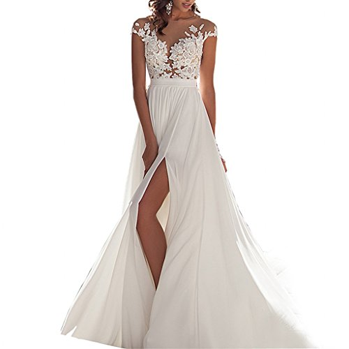 Chady Chiffon beach wedding dress 2016 lace back long tail wedding gowns bride dresses for weddings