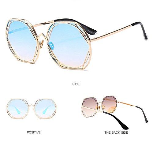 De Sol De Gafas Moda Trend Estados Redondas Europa Blue Unidos Metal Blue Gafas Y Sol De Gafas De qIw0pA