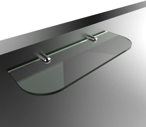 Glass shelf with curved corners 3 sizes 300mm 400mm 500mm and 3 colours Clear White Black Bathroom Kitchen Bedroom 300mm x 100mm, Black