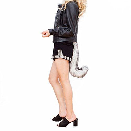 Fantastic Mr Fox Halloween Costume (JTENGYAO Unisex Faux Fur Fox Tail For Adult Cosplay Costume Halloween Party,Fox Color,One Size)