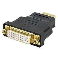 uxcell Dual Link DVI-I Hembra a HDMI Adaptador Convertidor de Conector Macho Negro