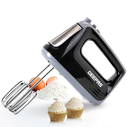 Geepas 400W Hand Mixer   Professional Food & Cake Mixer for Baking   5 Speed with Turbo Function, Includes Chrome Extra…