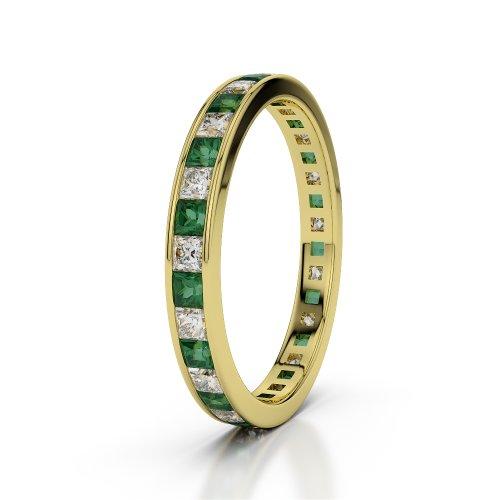 Or jaune 18carats 1CT G-H/VS sertie de diamants ronds découpé Émeraude et bague éternité Agdr-1132