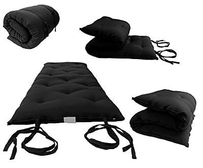"D&D Futon Furniture Brand New Full Size Black Traditional Japanese Floor Futon Mattresses, Foldable Cushion Mats, Yoga, Meditaion 54"" Wide X 80"" Long"