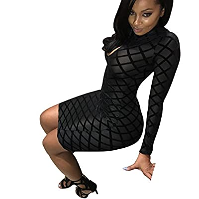 Mojessy Women Lady Keyhole Mesh Bandage Bodycon Pencil Party Club Midi Dress