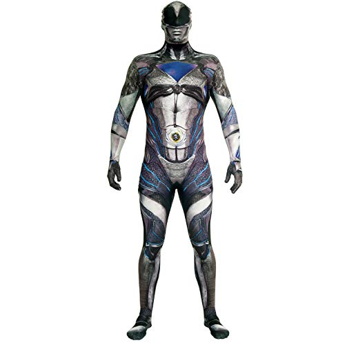Official Black Deluxe Movie Power Ranger Morphsuit Fancy Dress Costume - size Large 5'3 - 5'9 (159cm - 175cm)]()