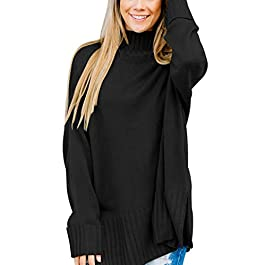 Women's Loose Oversized Casual Turtle Neck Sweater Pullover