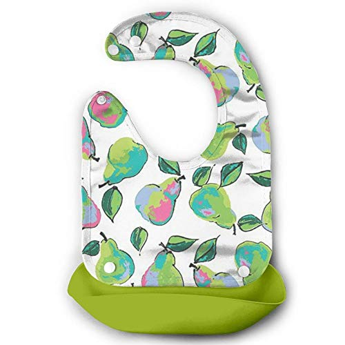 W3Zap1 White Berkshire Pears - Garden - Lila Tueller Riley Blake Waterproof Silicone Baby Bibs Easily Wipes Clean Comfortable Soft