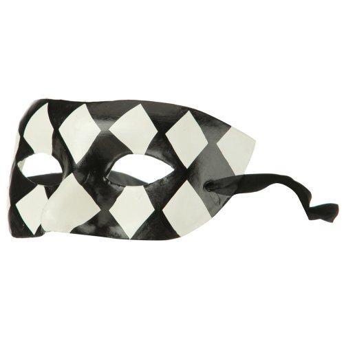 Harlequin Mask - Black White OSFM ()