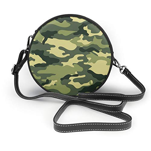 XTGOO Military Camo Woodland Camoflage Print Round Crossbody Bags Women Shoulder Bag Adjustable PU Leather Chain Strap and Top Zipper Small Handbag Round Cell Phone Purse Handle Tote
