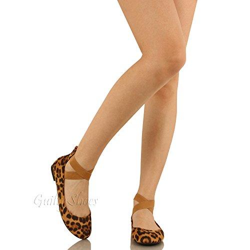 Guilty Schuhe Damen Classic Comfort Elastic Crossing Straps - Stretchy Ballerina Ballerinas Schuhe Leopard Wildleder
