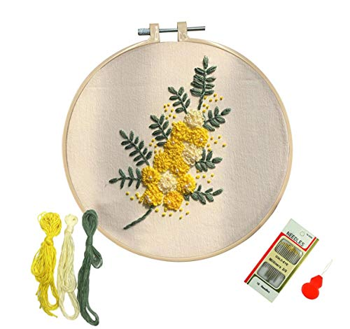 Louise Maelys Embroidery Kit with Floral Pattern Floss Needles for Beginners Cross Stitch Starter Kit
