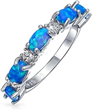 Bling Jewelry 925 Sterling Silver Synthetic Blue Opal CZ Stackable Ring