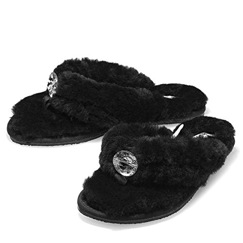 K.Signature Women's Mora Flip-Flop Black Sheepskin Sandal Large/9-10 M US Large Flip Flop Charm