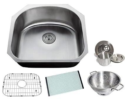 Chef Series 23u0026quot; 16 Gauge D Shape Stainless Steel Undermount Kitchen  Sink Single Bowl