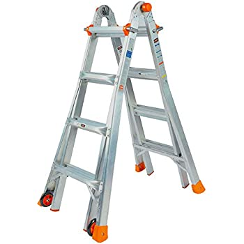 QOMOTOP Multi-Use Ladder,17-Foot, 300-Pound Duty Rating, Two Wheels, Extension Ladder, Embedded Buckle, Non-Slip Design, Aluminium Alloy Texture, Easy to Operate