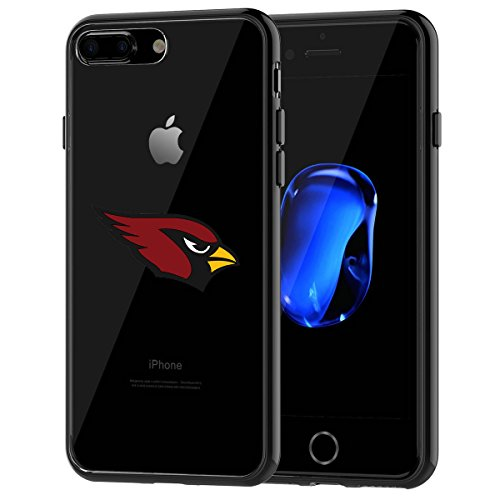 Cardinals iPhone 7 Plus Tough Case, Shock Absorption TPU + Translucent Frosted Anti-Scratch Hard Backplate Back Cover for iPhone 7 Plus- Black (Iphone 7 Plus St Louis Cardinals Case)