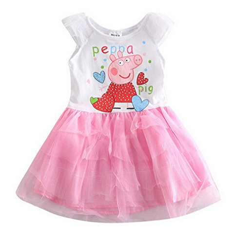 peppa pig clothing Little Girls' Summer Cartoon Pure-Color Stitching Natural Cotton Dresses,White,2T(18-24M)