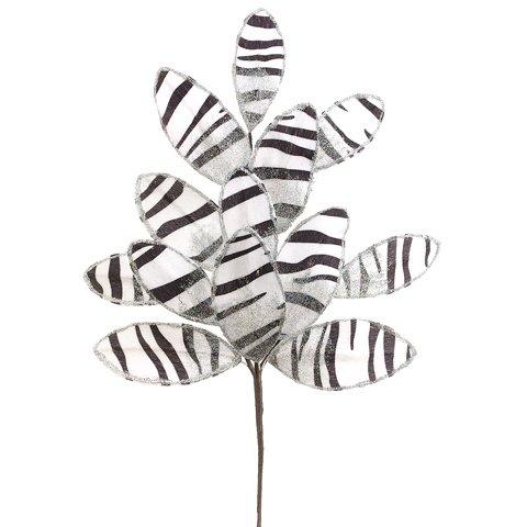 18'' Glittered Animal Print Leaf Spray White Black (Pack of 24)