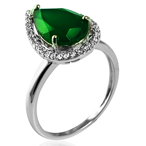 2.75 Ct. White CZ & Pear Shape Green emerald Gemstone Ring In 925 Sterling Silver For Women (Emerald Shape Ring Setting)