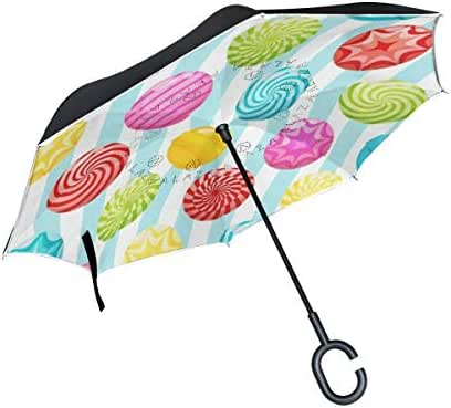 Reverse Umbrella Valentines Day Candy Colorful Love You Summer Spring Windproof Double Layer Inverted Umbrella Anti-UV Protection with C-Shaped Handle for Car Outdoor Use