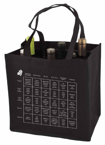 6-Bottle Wine Tote Bag with Storage Compartents and Imprinted Food and Wine Pairing Chart, Quantity 1, Black ()
