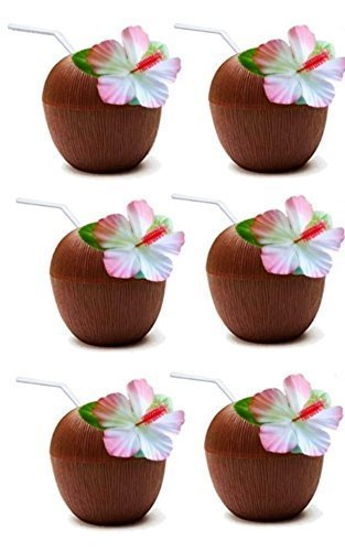 Read About 6PCS Coconut Cups with Straws for Hawaiian Beach Tropical Luau Hula Tiki Party Favors Aup...