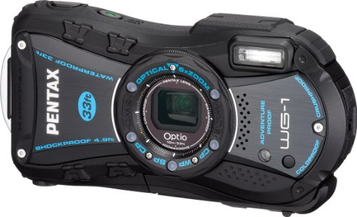 Pentax Optio WG-1 Adventure Series 14 MP Waterproof Digital Camera with 5x Wide-Angle Optical Zoom (Black) (Underwater Pentax Camera)