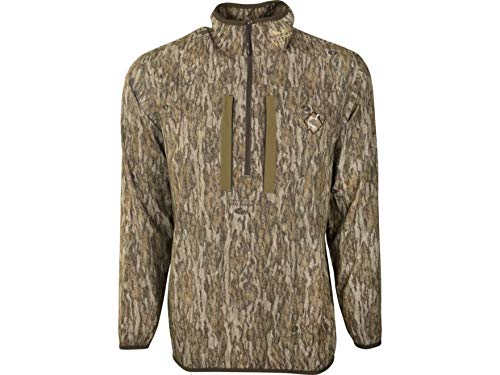 Ol' Tom Men's Tech 1/4 Zip Shirt Long Sleeve Polyester Mossy Oak Bottomland.