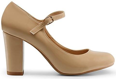 Marco Republic Monaco Memory Foam Cushion Chunky Block High Heels Comfort Dress Pumps - (Dark Beige Patent) - - Mary Jane Shoe Block Heel