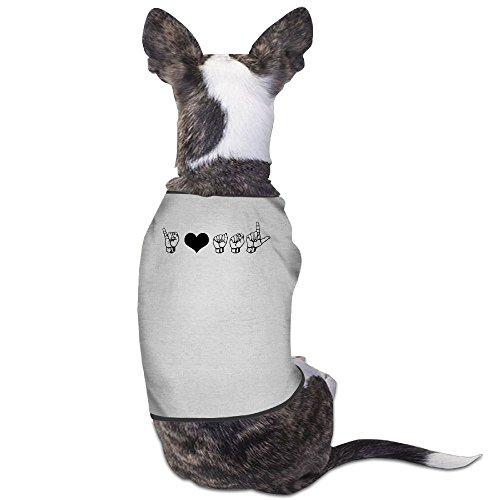 (Skkoka Fashion Sleeveless Pet Supplies Dog Cat Clothes I Love ASL (American Sign Language) Elbow Pet Apparel Clothing M Gray)