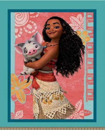 Moana & Pua The Pig Cotton Fabric Panel - Officially Licensed (Great for Quilting, Sewing, Craft Projects, Wall Hangings, and More) 35