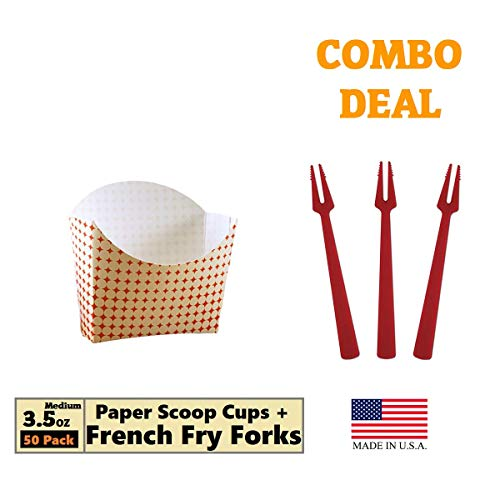 Paper French Fry Scoop Cup, 3.5 oz, Red & White Star Motion, 50 Trays + 25 French Fry Forks Medium Size Combo Deal (Cup Crinkle)