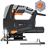 Jigsaw, Tacklife 5Amp, 3000rpm Jig Saw, Adjustable Speed (1-6 dial) & Bevel Angle (0°-45°) & Orbit (1-4), Lock-on Button, Parallel Guard, Aluminum Base, Dust Extraction | PJS03A