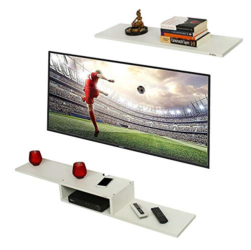 Anikaa Archie TV Entertainment Unit/Wall Set Top Box Stand Shelf (White Big)