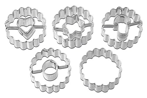 Dr.Oetker Christmas Linzer Cookie Cutter, Stainless Steel, Silver, 3.5 cm Diameter, Set of 5
