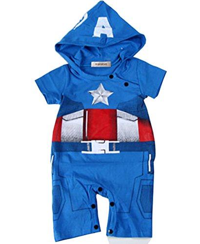 Baby Boy Captain America Hoodie Costume Jumpsuit