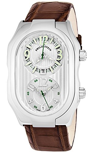 Philip Stein Men 'Signature' Silver Dial Brown Leather Strap Dual Time Swiss Quartz Watch 12-LW-ABR