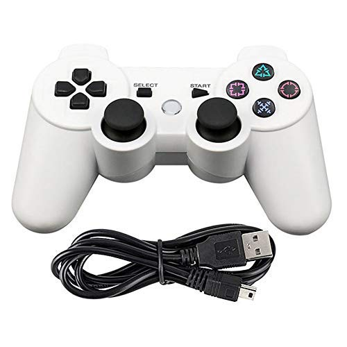 Tidoom PS3 Controller Wireless Bluetooth Six Axis Dualshock Game Controller Compatible for Playstation 3 Dualshock 3 with Charging Cable White