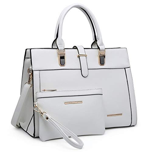Women's Purse Handbag Shoulder Bag Tote Satchel Hobo Bag Briefcase Work Bag for Ladies (8000 2pcs- White)