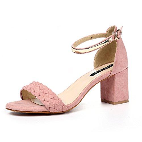 Moda Mujer verano sandalias confortables tacones altos,37 Rosa Pink