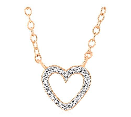 Libertini Colliar argent 925 plaque or Rose serti de Diamant en forme de Coeur